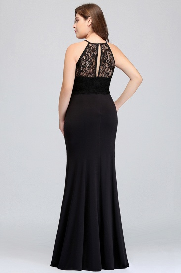Plus Size Mermaid Square Lace Black Bridesmaid Dress Online_3