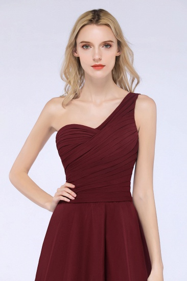 Chic One-Shoulder Short Burgundy Affordable Bridesmaid Dress with Ruffle_58