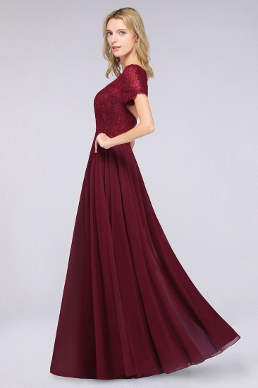 Chic Lace Long Burgundy Backless Bridesmaid Dress With Short-Sleeves_6
