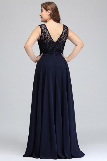 Plus Size Lace Jewel Long Bridesmaid Dress Online with Ruffle_3