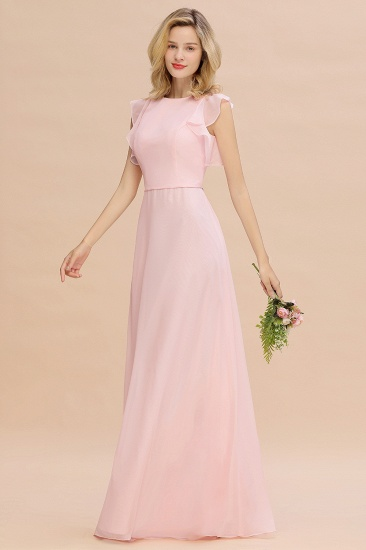 Simple Jewel Draped Sleeves Blushing Pink Bridesmaid Dress Online_1