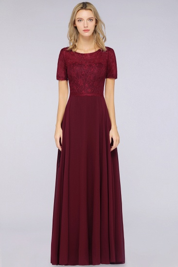 Chic Lace Long Burgundy Backless Bridesmaid Dress With Short-Sleeves_4