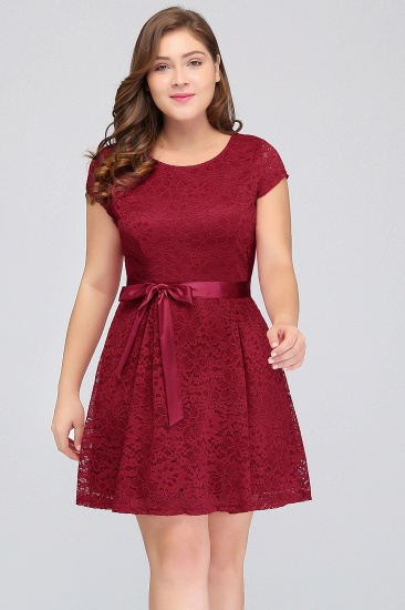Plus Size A-Line Jewel Burgundy Lace Bridesmaid dress with Short Sleeves_4