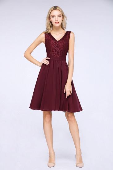 Elegant Lace V-Neck Short Burgundy Chiffon Bridesmaid Dress with Ruffle_1