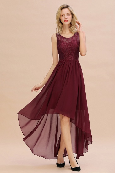 Affordable Hi-Lo Lace Sleeveless Burgundy Chiffon Bridesmaid Dress Online_3