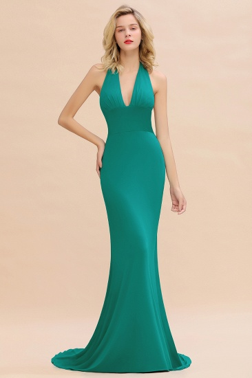 Mermaid Halter V-Neck Dark Green Chiffon Bridesmaid Dress with Open Back_31
