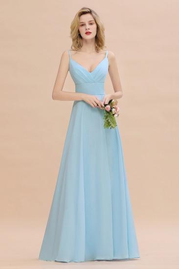 Affordable Spaghetti-Straps Slit Long Chiffon Bridesmaid Dress with Ruffle_4