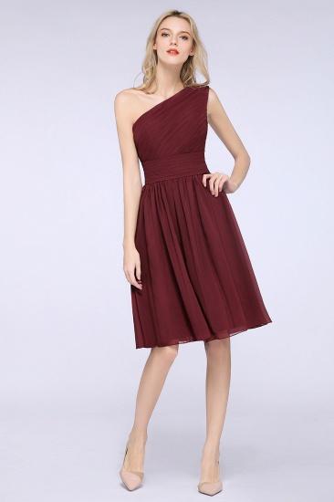 Chiffon One Shoulder Ruffle Short Burgundy Bridesmaid Dresses Online_5