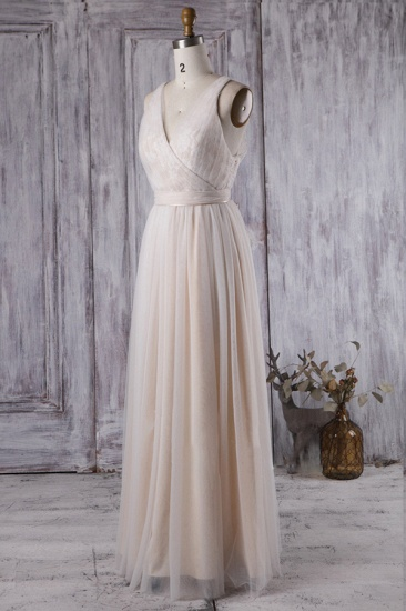 BMbridal Chic Tulle Lace Wedding Dress Ruffle V-neck Sleeveless Bridal Gowns On Sale_4