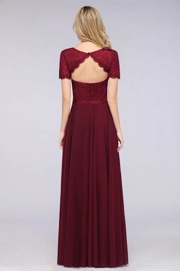 Chic Lace Long Burgundy Backless Bridesmaid Dress With Short-Sleeves_3