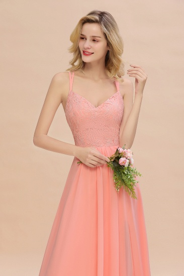 Sexy Spaghetti-Straps Coral Lace Bridesmaid Dresses with Slit_58