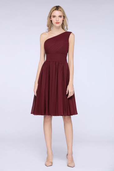 Chiffon One Shoulder Ruffle Short Burgundy Bridesmaid Dresses Online_3
