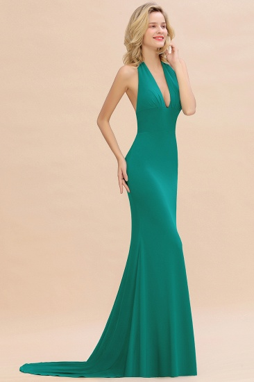 Mermaid Halter V-Neck Dark Green Chiffon Bridesmaid Dress with Open Back_35
