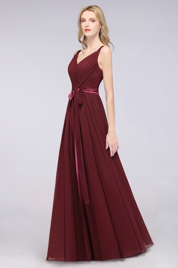 Chic V-Neck Straps Ruffle Burgundy Bridesmaid Dresses with Bow Sash_54
