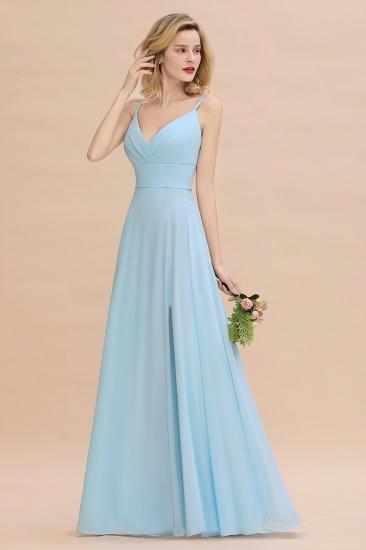 Affordable Spaghetti-Straps Slit Long Chiffon Bridesmaid Dress with Ruffle_6