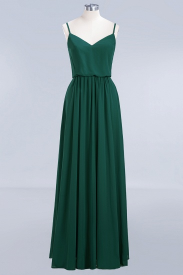 BMbridal Dark Green Chiffon Spaghetti-Straps Modest Bridesmaid Dress Online_1