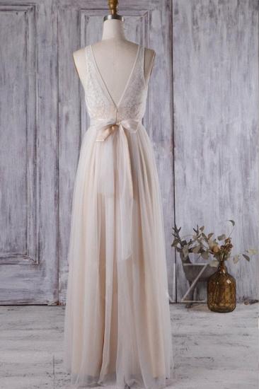 BMbridal Chic Tulle Lace Wedding Dress Ruffle V-neck Sleeveless Bridal Gowns On Sale_3