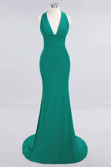 Mermaid Halter V-Neck Dark Green Chiffon Bridesmaid Dress with Open Back_39