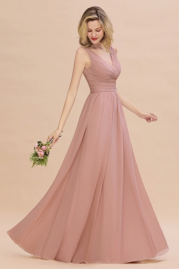 Elegant V-Neck Dusty Rose Chiffon Bridesmaid Dress with Ruffle_56