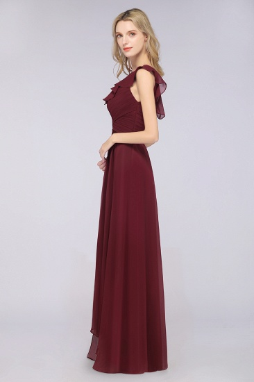 BMbridal Gorgeous Sweetheart Ruffle Burgundy Chiffon Bridesmaid Dress With One-shoulder_7