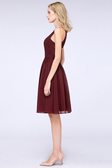 Lovely Burgundy Lace Short Bridesmaid Dress With Spaghetti-Straps_54