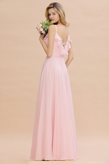 Stylish Draped V-Neck Pink Chiffon Bridesmaid Dress with Spaghetti Straps_7
