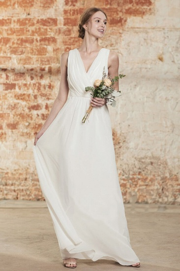 BMbridal Elegant A-Line Chiffon Wedding Dress Appliques Ruffles Draped Back Bridal Gowns Online_1