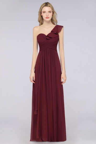 BMbridal Gorgeous Sweetheart Ruffle Burgundy Chiffon Bridesmaid Dress With One-shoulder_5