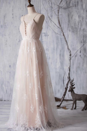 BMbridal Gorgeous A-line Tulle Lace Wedding Dress Spaghetti Straps Ruffles Bridal Gowns Online_4