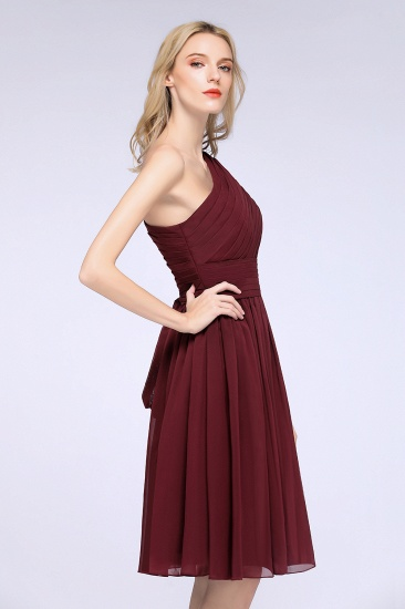 Chiffon One Shoulder Ruffle Short Burgundy Bridesmaid Dresses Online_9