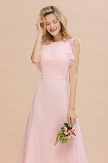 Simple Jewel Draped Sleeves Blushing Pink Bridesmaid Dress Online_9