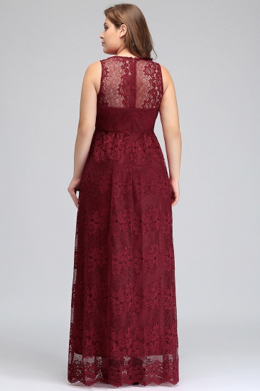Plus Size A-Line V-Neck Burgundy Lace Bridesmaid Dress Online_3