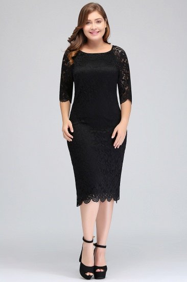Plus Size Mermaid High-Neck Lace Short Bridesmaid Dress with Long Sleeves_1