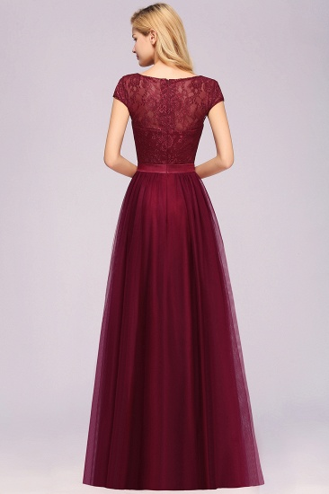 Elegant Lace Cap Sleeves Burgundy Bridesmaid Dresses Cheap_3