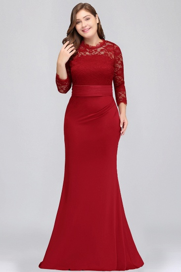 Plus Size Mermaid Long Red Lace Bridesmaid Dresses with 3/4 Sleeves_1