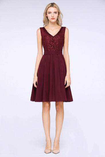 Elegant Lace V-Neck Short Burgundy Chiffon Bridesmaid Dress with Ruffle_4