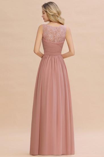 Elegant V-Neck Ruffle Dusty Rose Chiffon Lace Bridesmaid Dresses Online_3