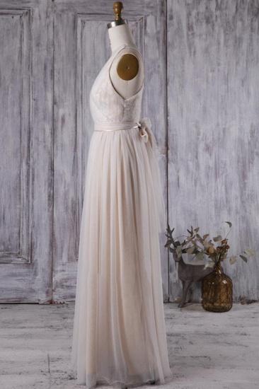BMbridal Chic Tulle Lace Wedding Dress Ruffle V-neck Sleeveless Bridal Gowns On Sale_5