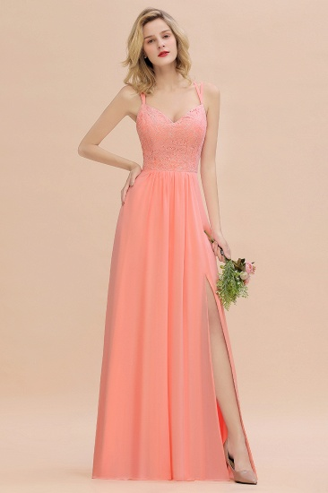 Sexy Spaghetti-Straps Slit Lace Coral Bridesmaid Dress