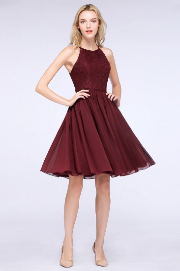 Lovely Burgundy Lace Short Bridesmaid Dress With Spaghetti-Straps_53