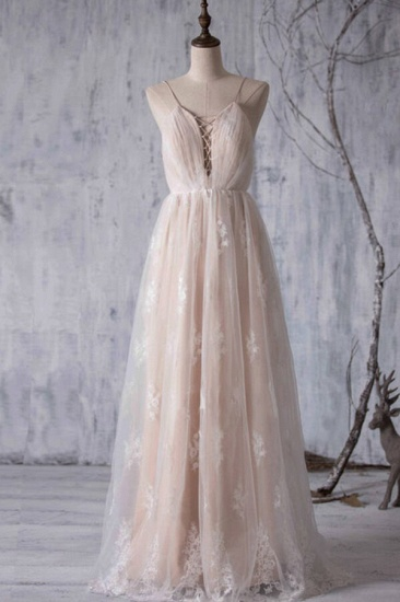 BMbridal Gorgeous A-line Tulle Lace Wedding Dress Spaghetti Straps Ruffles Bridal Gowns Online_1