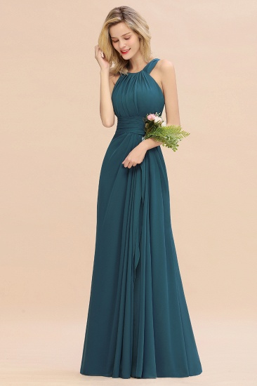 Elegant Round Neck Sleeveless Stormy Bridesmaid Dress with Ruffles_56
