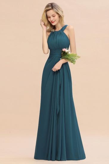 BMbridal Elegant Round Neck Sleeveless Stormy Bridesmaid Dress with Ruffles_56