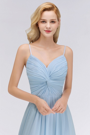 Chic V-Neck Pleated Backless Bridesmaid Dresses with Spaghetti Straps_7