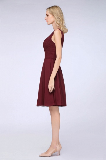 Chic One-Shoulder Short Burgundy Affordable Bridesmaid Dress with Ruffle_57