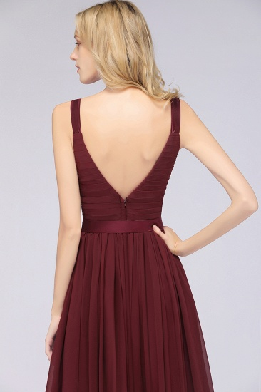 Chic V-Neck Straps Ruffle Burgundy Bridesmaid Dresses with Bow Sash_58