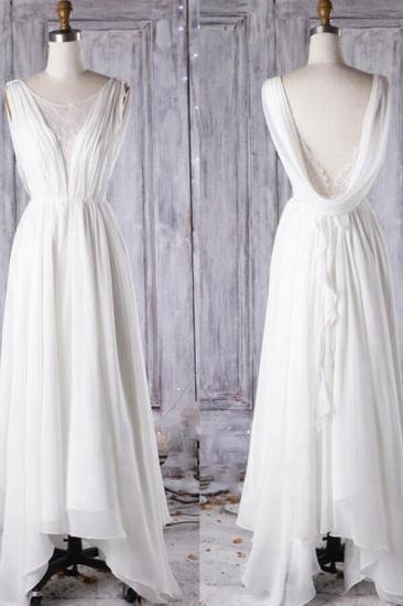 Affordable Asymmetric Chiffon Wedding Dress Lace Appliques Ruffles Bridal Gowns On Sale_6