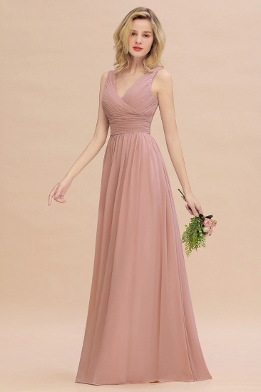 Elegant V-Neck Dusty Rose Chiffon Bridesmaid Dress with Ruffle_55