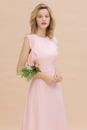 Simple Jewel Draped Sleeves Blushing Pink Bridesmaid Dress Online_8