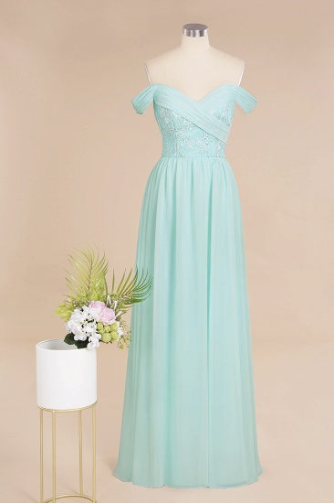 Simple Off-the-shoulder Long Affordable Bridesmaid Dress With Appliques_1